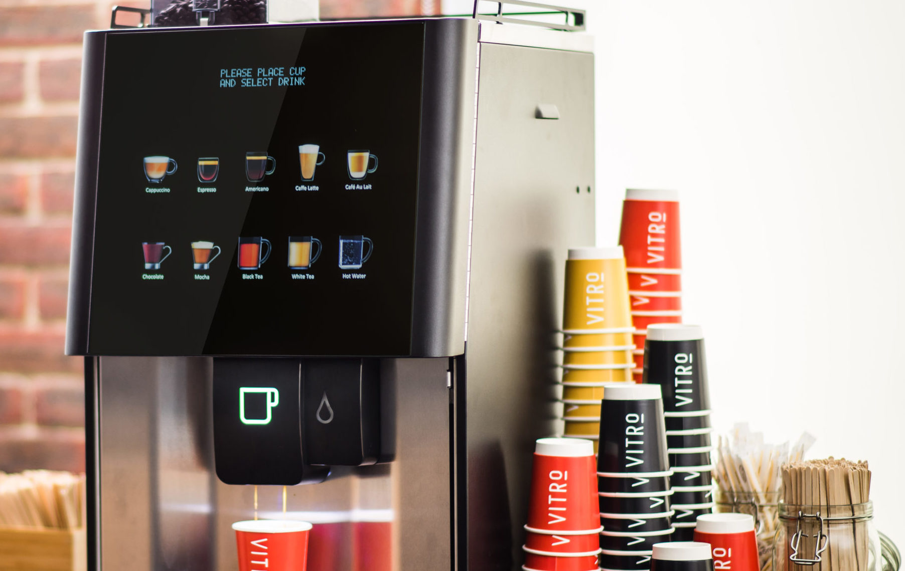 Touch free coffee machine